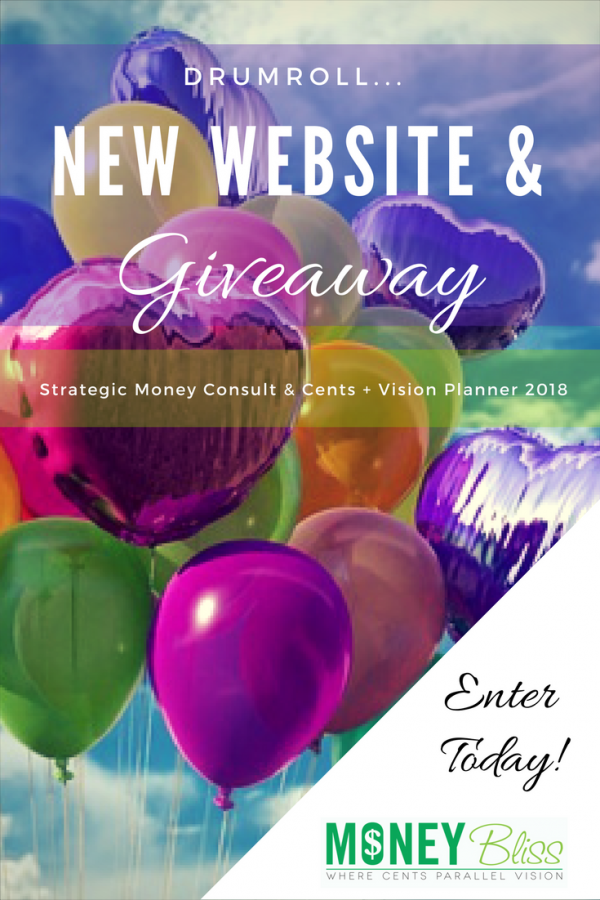Celebrating the new Money Bliss website! GIVEAWAY TIME!! Over at Money Bliss, we are so excited about what is happening. We are throwing a party and you can join in! Go here to learn all of the details. Plus, one reader will win a strategic money coaching session and the Cents + Vision Planner 2018! Save Money. Get Out of Debt. Learn to budget. Financial Freedom.