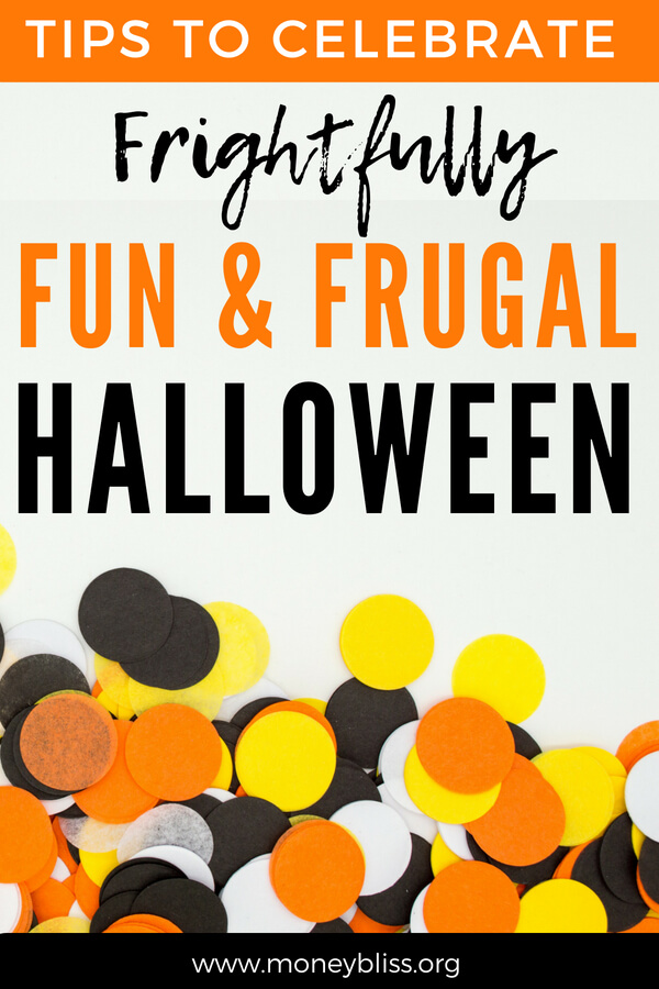 Get tips to celebrate a fun & frugal Halloween on all your decorations, costumes, candy, and party supplies. With these money saving tips on the holiday, you won't go broke. Plenty of cheap ideas here. #halloween #frugal #savemoney #holiday