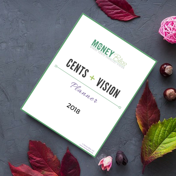 Cents + Vision Planner 2018 Product Image Cover. Budget Planner. 2018.