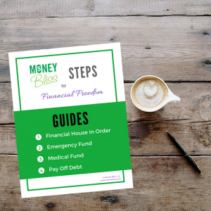 Money Bliss Step Guide #1-4. Financial House in Order. Emergency Fund. Medical Fund. Pay Off Debt. Bundles. Printables. Money Bliss Bundle Beginning Steps.