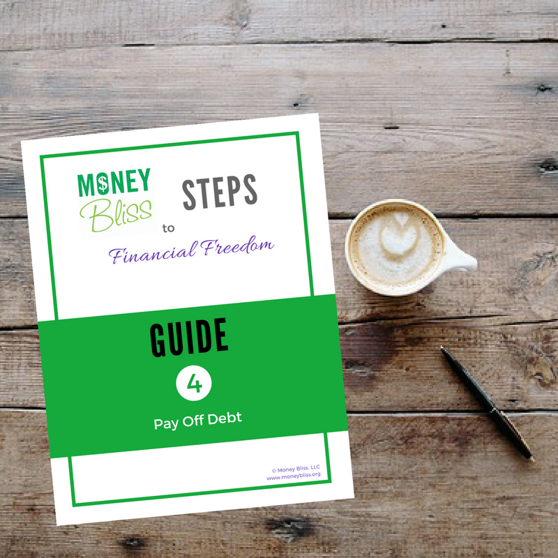Money Bliss Step Guide #4. Pay Off Debt. Learn how to pay off debt. Debt snowball vs. debt avalanche. Milestone celebrations for motivation. Track your progress. Printables.