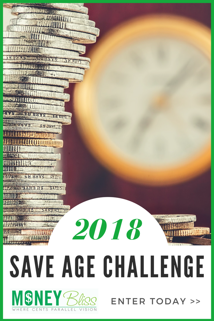 Saving money is a common New Year's Resolution. Here is the Save Age Challenge 2018 to help you save money. Simple, easy. Get money tips once signed up. Reach your money goals. Save money monthly.