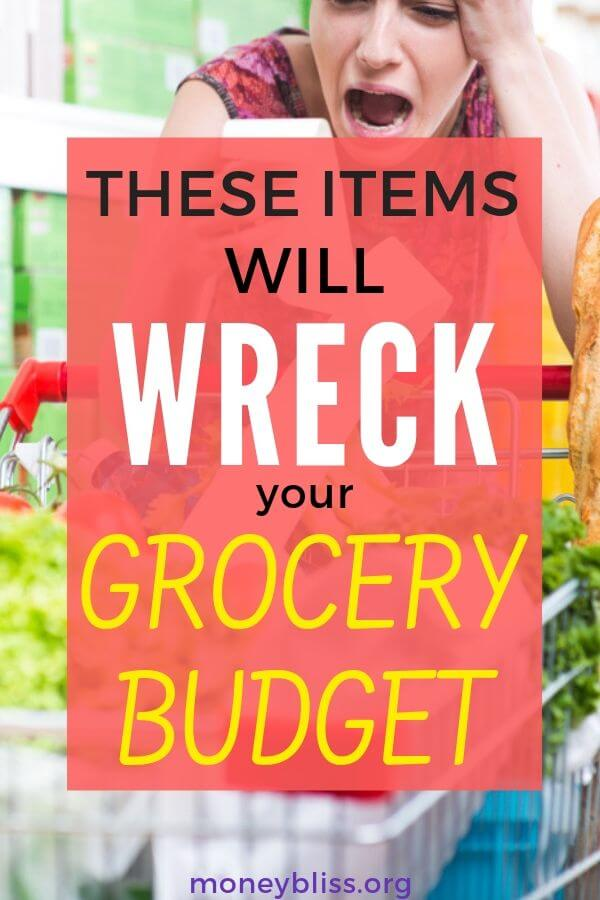 Learn how to grocery shop on a budget. Save money by not buying these items. Save money on groceries today! These grocery money saving tips will save you thousands.