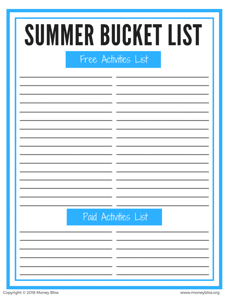 Summer Bucket List. Free printable. Find free activities for kids. Simple way to keep kids busy all summer long. #printable #summer #kids
