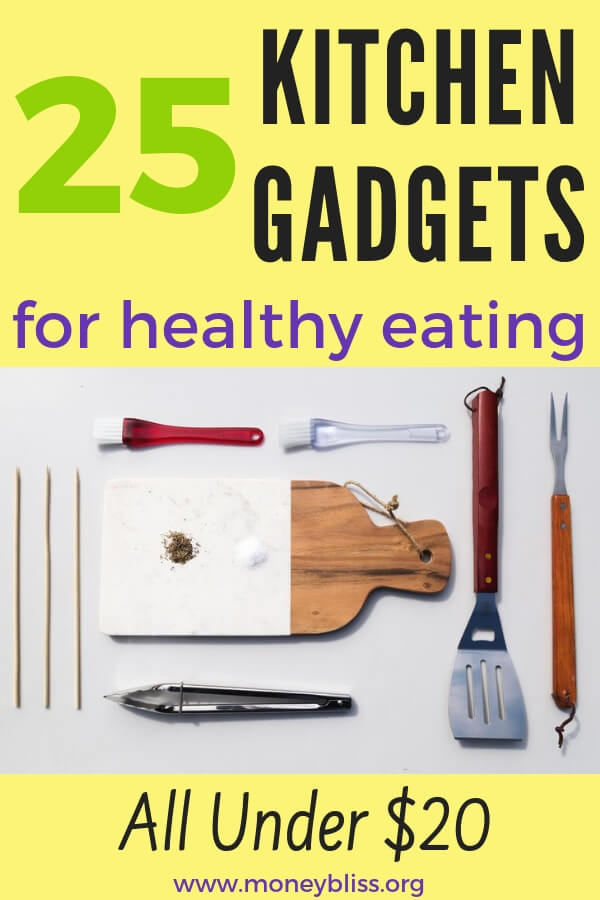 Get the cooking equipment needed for healthy eating. These kitchen tools for under $20. SOme are under $10. Make cooking healthy meals simple. #mealprep #food #moneybliss