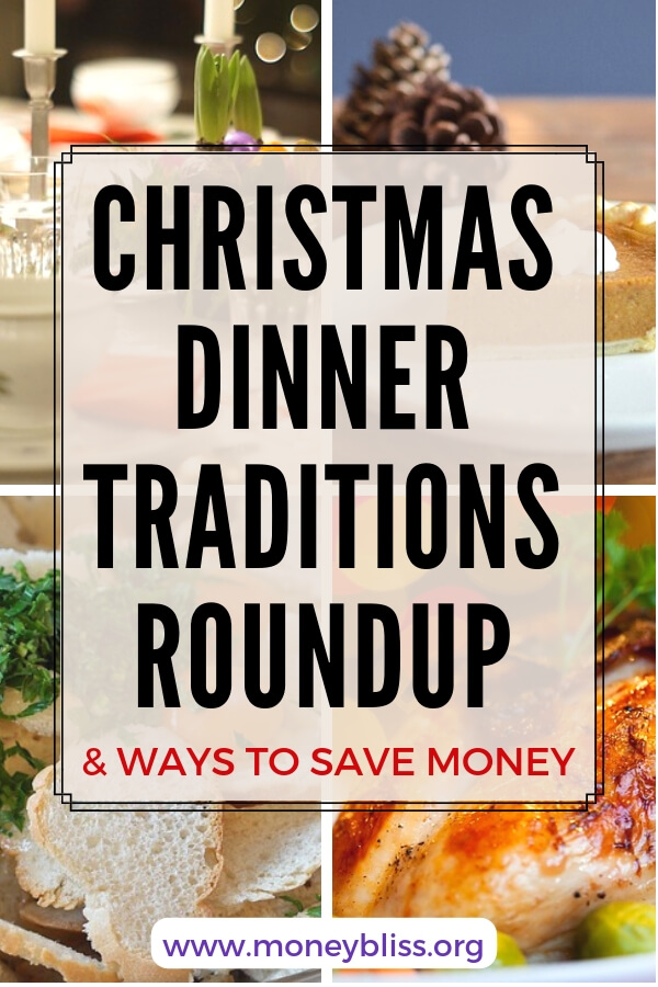 Roundup of ideas for Christmas dinner on a budget. Find frugal ways to save money yet enjoy the fancy meal and fun. #frugal #christmas #moneybliss