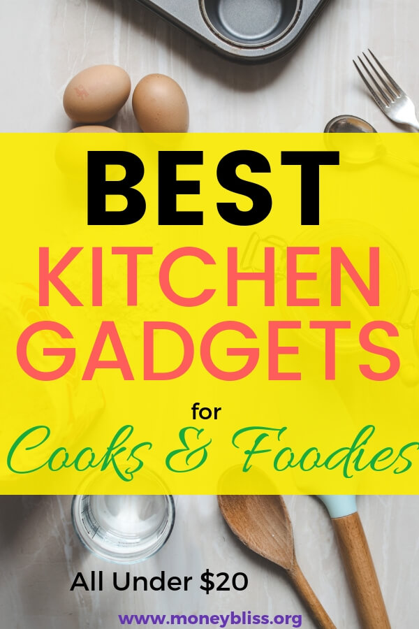 Find the perfect gift for mom or friends or anyone who considers themselves foodies or love to cook. Find kitchen gadgets under $20 for the holidays or birthday. #foodies #moneybliss