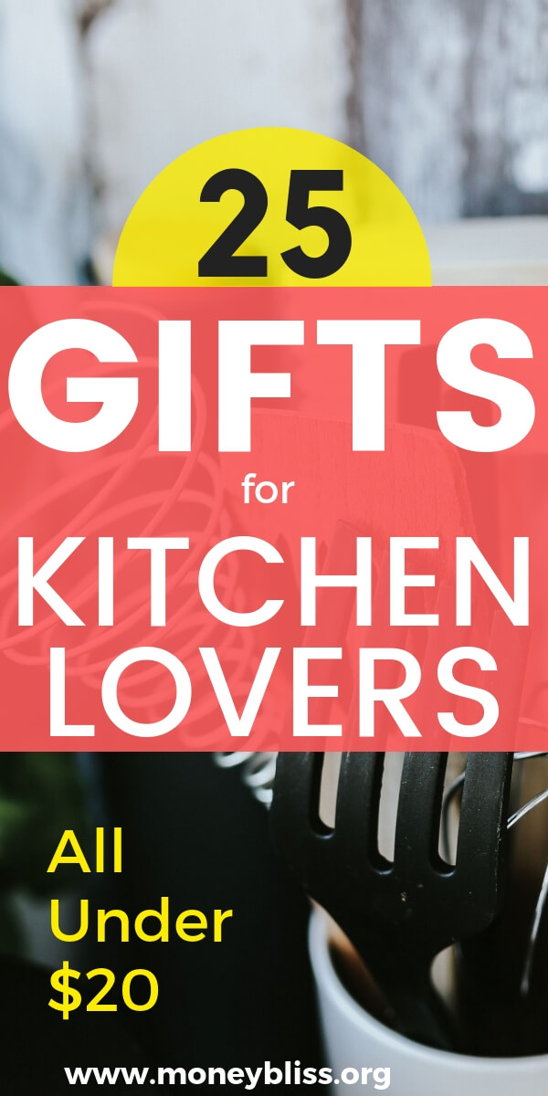 Calling all those who love to cook or don't! These are the best gifts under $20 for any mom, dad, or co-worker. Perfect kitchen gadgets to make eating healthier easy. #gifts #cook #food #moneybliss