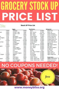 Free printable on how much to pay for groceries. Learn what a stock up price is when grocery shopping. Tips on the lowest price on groceries and lower your grocery budget. #groceries #moneybliss