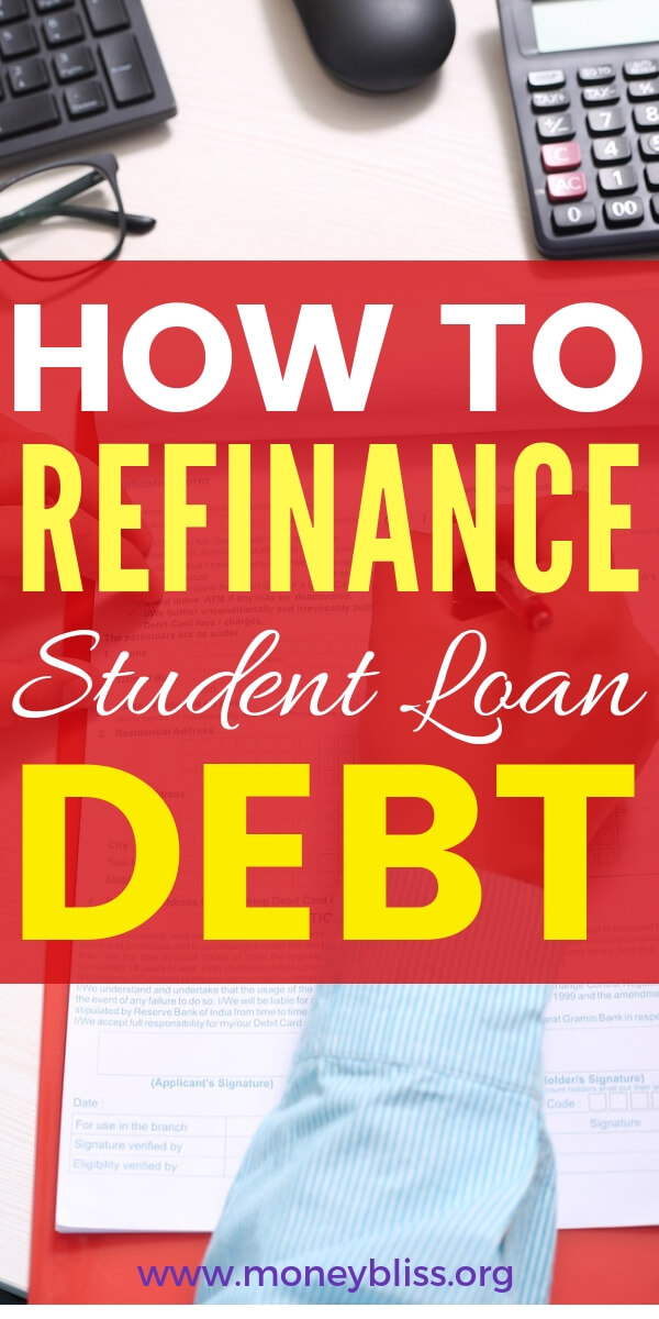 Understand how to refinance or consolidate student loan debt. Get the best tips for paying off debt and start a repayment plan now. Find lenders to refinance private and federal loans. #college #debt #moneybliss