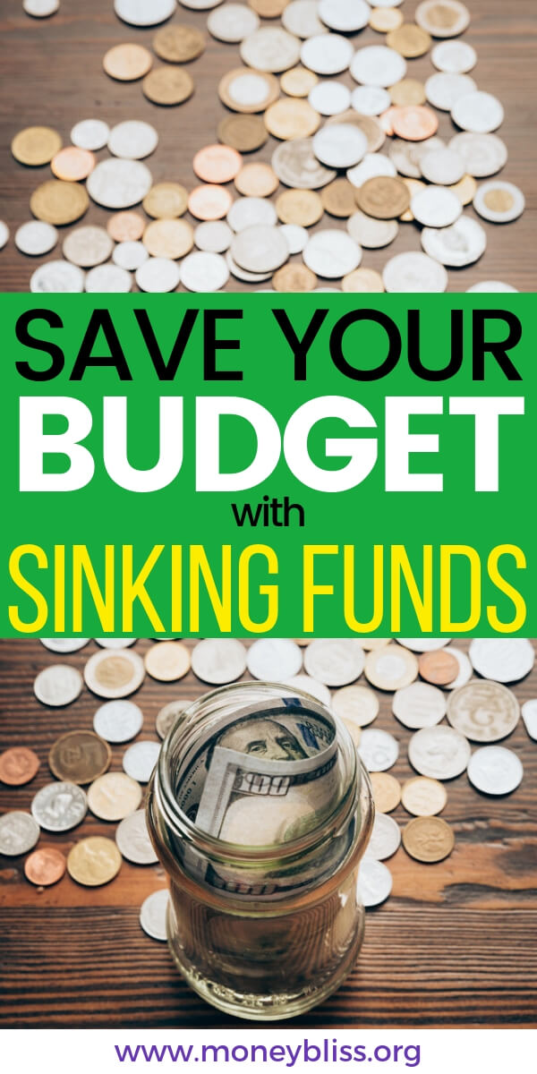 When you learn how to use sinking funds, you can stop living paycheck to paycheck. It will save your budget. Find a full list of sinking funds categories. Start saving money and stay out of debt. #sinkingfunds #personalfinances #moneybliss