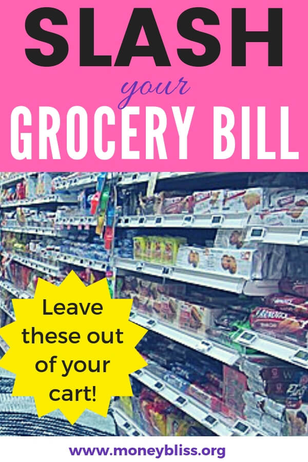 Ready to cut your grocery bill? Then, avoid these grocery items when grocery shopping. Food not to eat for a healthy lifestyle. #groceries #budget #moneybliss
