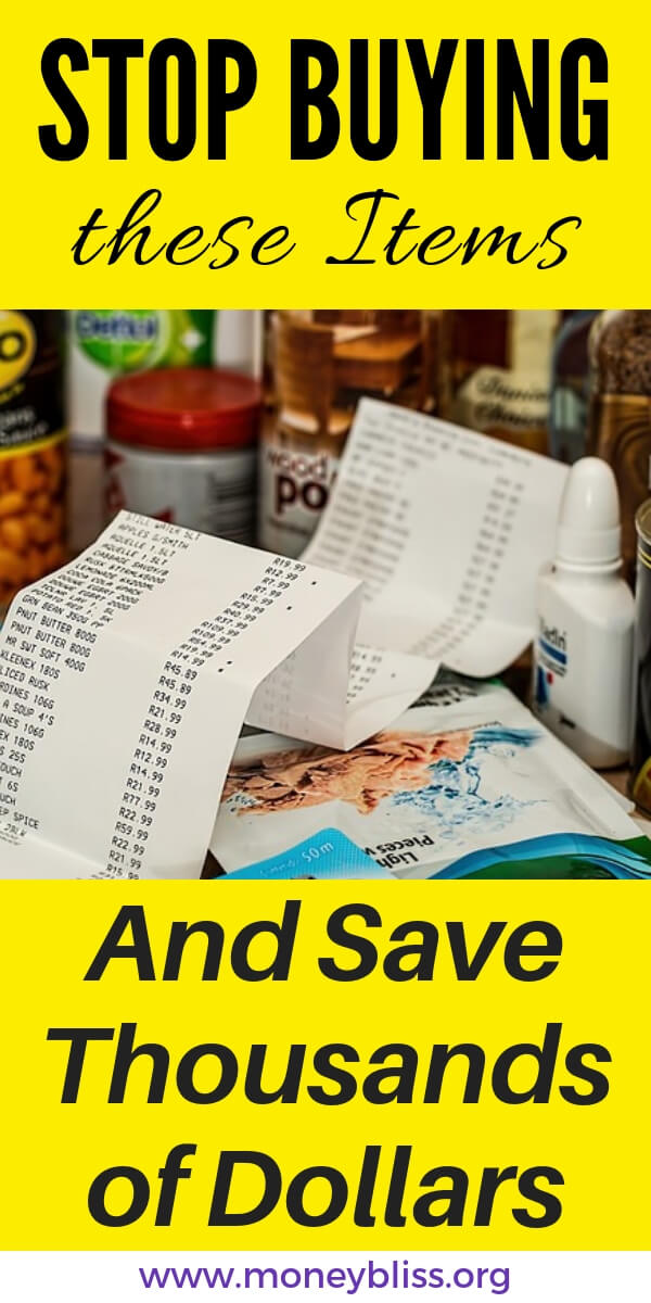 Save on your grocery bill by not buying these items when grocery shopping. Stick to your budget and lower your grocery bill. These tips will work for families or couples or for one. #groceries #budget #moneybliss