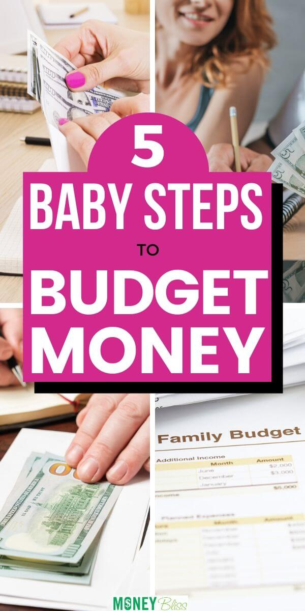 Learn how to budget money. Use these baby steps to begin budgeting. Dave Ramsey made the baby steps famous. But, there is more to reaching financial peace. Improve your finances and reach your money goals. This is perfect budgeting for beginners.