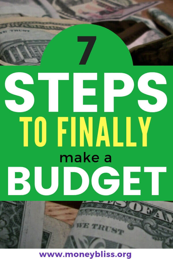 A step by step guide to finally make a budget and stick to it. This budgeting process will help you pay off debt, save money, and reach financial freedom. #finances #budgeting #moneybliss