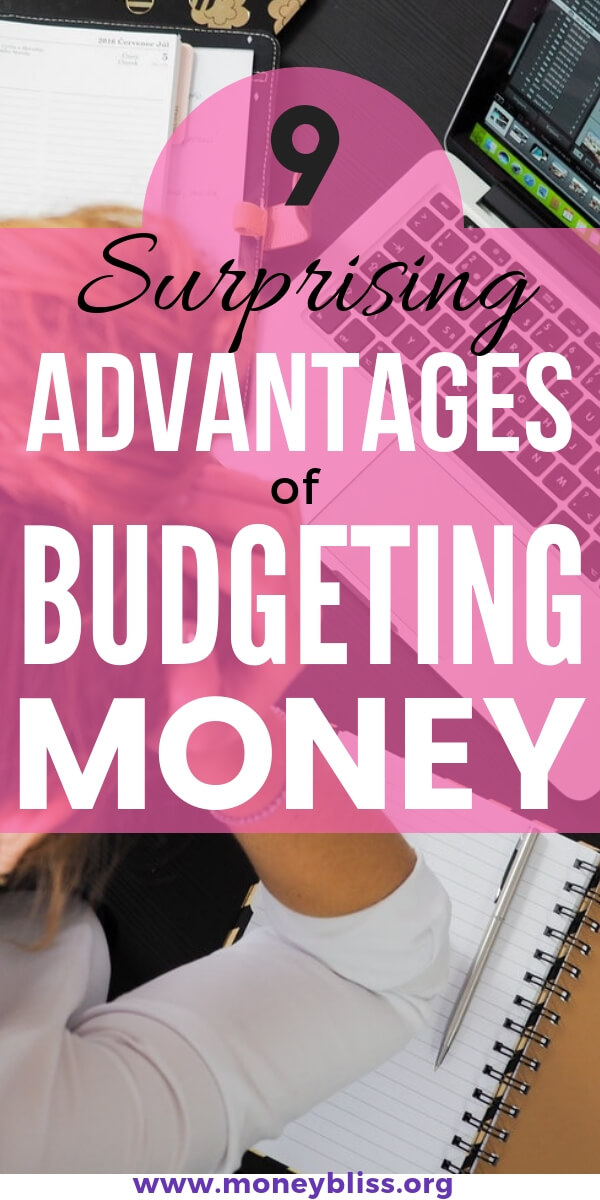 Living on a budget is way easier when you know all of the amazing advantages of budgeting money. Get ahead with your personal finances with our free monthly budget template. #finances #moneybliss