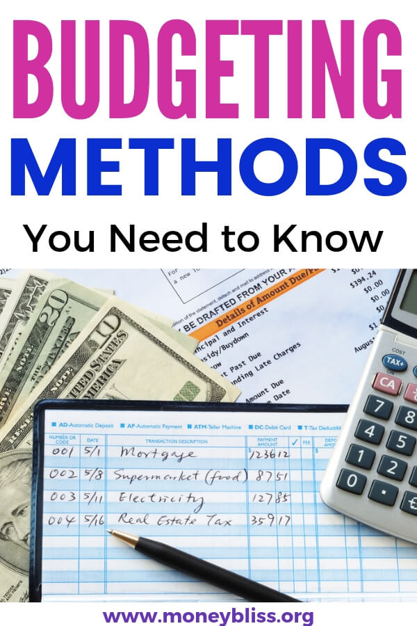 All of the budgeting methods you need to know to get ahead with your personal finances. Start saving money and track debt payoff. #budgeting #finances #moneybliss