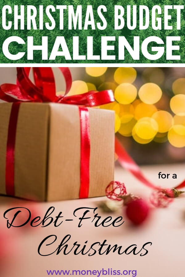 Start saving money today with the Christmas Budget challenge. Learn how to enjoy a debt free Christmas. How much should I save for Christmas? Get tips and ideas to be prepared for Christmas and stay on budget. #christmas #budget #moneybliss