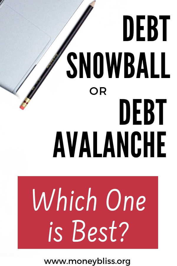 Debt snowball vs. debt avalanche vs debt stacking. Understand each method to pay off debt. Start your debt free journey. Learn how to get out of debt. Compare options to payoff debt regardless if it is student loans, credit cards, auto loans, or medical debt. #debt #debtsnowball #debtavalanche #money #personalfinances #getoutofdebt #moneybliss