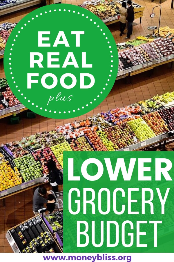 Saving money tips to eat healthy. Lower your grocery budget monthly, too! Plenty of ideas on staying on budget while eating real clean food. #healthy #budget #groceries #moneybliss