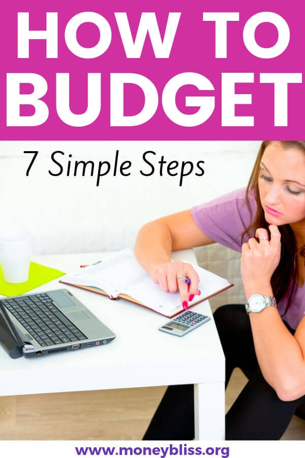 Step by step guide to create a simple budget. Find tips for personal budgeting. Free budget worksheet. #budget #moneybliss