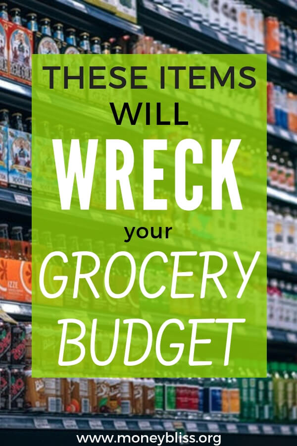 Items not to buy at eat grocery store. What to buy at the grocery store on a budget. Food to buy at the grocery store. Grocery shopping on a budget. Healthy grocery shopping on a budget. What food to avoid buying at the grocery store. #grocery #budget #moneybliss
