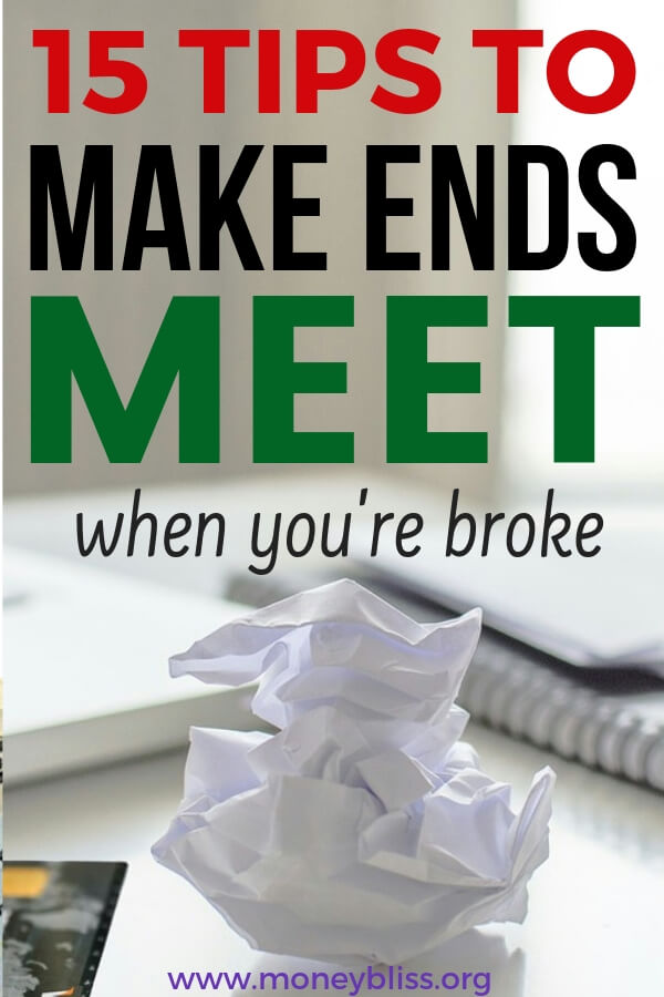 Tips and resources on how to make ends meet when you're broke. When money is tight, these ideas will help you from living paycheck to paycheck. Just what all families need when money is tight - not to worry about money and finances! #money #paycheck #finances #moneybliss