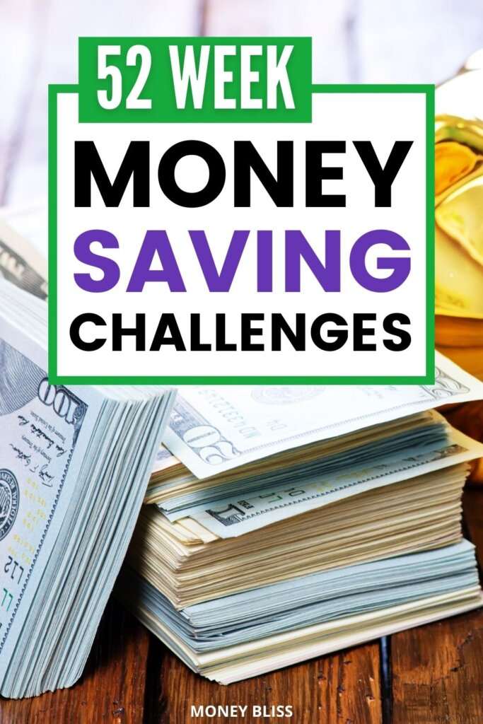 These are the best 52 money saving challenges from Money Bliss! You must read this post. This is your money journey! Pick from the different 52 Week Money Saving Challenge. Then, decide what one fits your personal finance situation the best! Learn how to save $1000, $1378, $2000, $2756, $5000 or $10000 with weekly deposits. Pick the perfect money saving challenge to reach financial freedom at your pace with jars or aggressive. Follow one of these easy money saving plans! Start saving money each week. Track your weekly progress with our free printables. Download now!