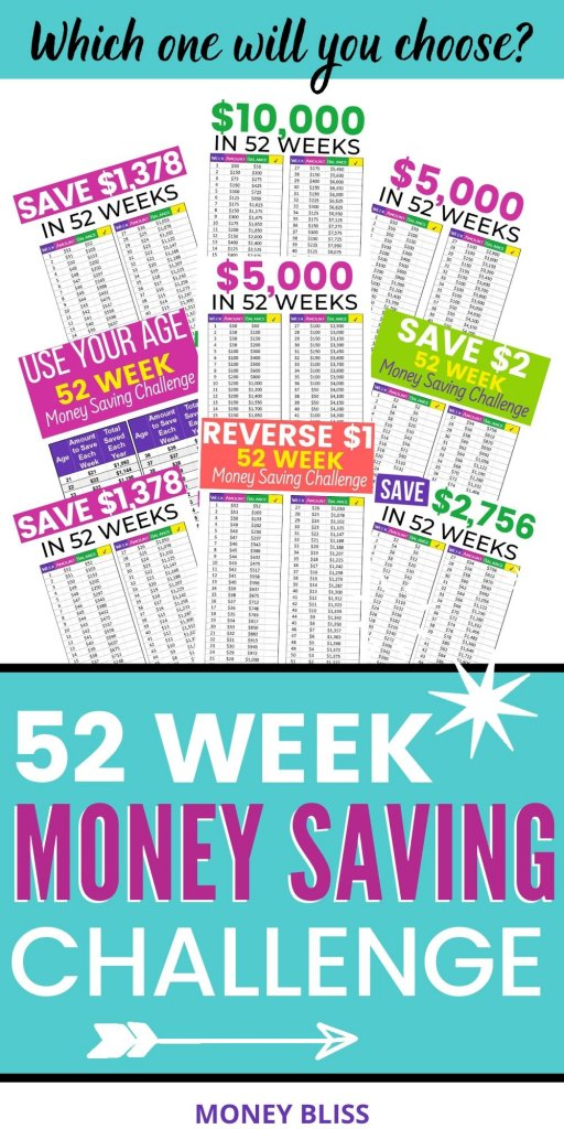 This 52 week money saving challenge is for you! Learn how to save $1000, $1378, $2000, $2756, $5000 or $10000 with weekly deposits. Pick the perfect money saving challenge to reach financial freedom at your pace with jars or aggressive. Follow one of these easy money saving plans! Get free templates and printables for all save money challenges. - Money Bliss