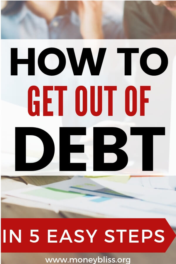 How to get out of debt with 5 easy steps. With these simple tips, you will be successful in paying off debt fast. Change your personal finance situation now. #getoutofdebt #moneybliss