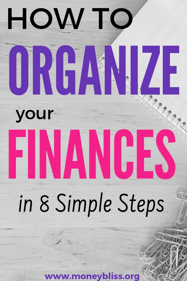 Organizing your paper and personal finances is crucial for financial success. Get organized so you can start paying your bill on time. Get our free printables to help you! No more paper clutter. Say yes to an organized financial life. #organize #money #finances #paper #moneybliss