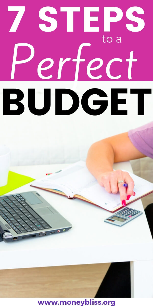 How to budget and make it stick. Learn the seven simple steps to creating a budget that works for you and your family. Get your budget printable too! #budget #personalfinances #moneybliss
