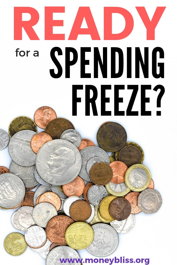 Ready to save money quickly? Then, challenge yourself to a spending freeze! It is a great chance to learn what truly matters to you... stuff or life? Be successful with this ultimate guide packed with practical tips. #money #spending #moneybliss