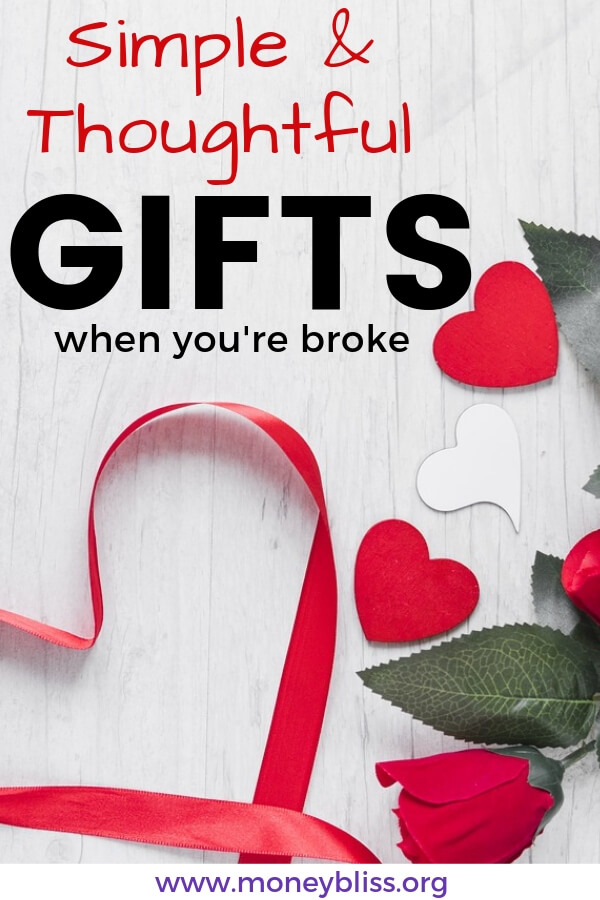 Searching for the unique, simple, and thoughtful gift for Valentine's Day? Get creative ideas for that someone special - for her or for him. These money saving gifts from the heart won't break the bank. #gift #valentines #moneybliss
