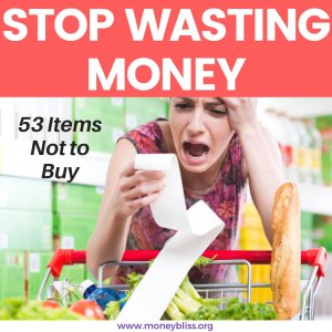Learn how to grocery shop on a budget. Save money by not buying these items. These grocery money saving tips will save you thousands. #grocerybudget #shop #moneybliss