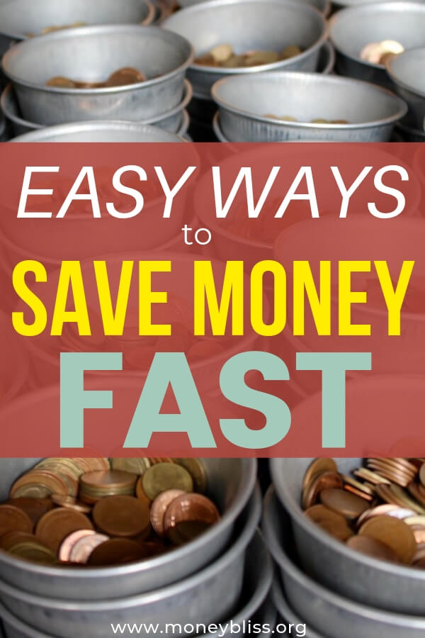 Use these money saving tips to save money fast! Learn how to cut your budget with these easy and simple ideas. This can help your household budget or pay off debt. Tips include spending habits, lifestyle changes, grocery savings, quick wins, and more! #savemoney #moneysaving #moneybliss