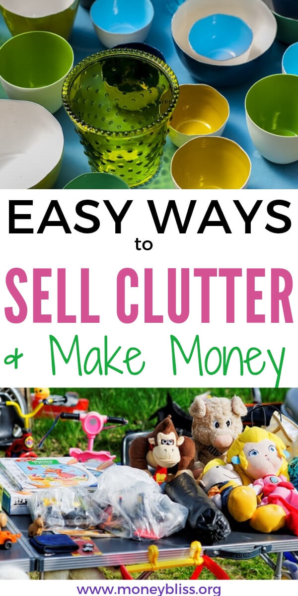 Learn how to make money from decluttering. Sell items online and make extra money. Tips for success decluttering purge. #minimalism #declutter #moneybliss