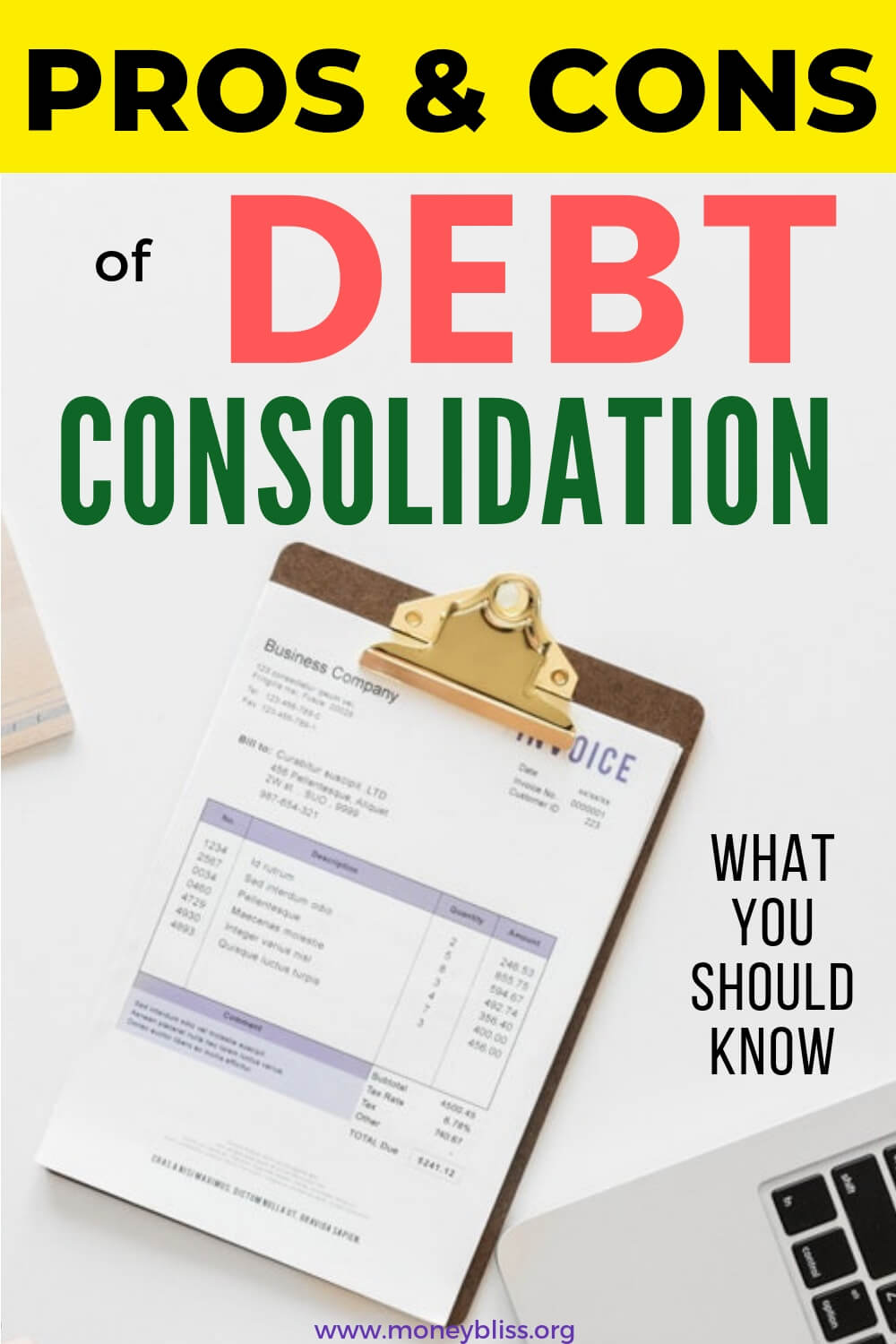 Pros and cons of debt consolidation. Understand the full impact of a loan and working with debt consolidation lenders and companies. Tips on how to get out of debt while saving money on interest. #debt #moneybliss