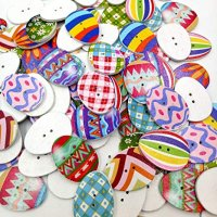100 PCS Easter Eggs Bulk Wooden Buttons Painting Multicolor Easter Eggs with 2 Hole for Sewing DIY Craft Scrapbooking (Multicolor)