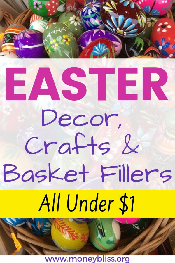 Easter on a budget! Find all of your Easter decorations, crafts, and basket fillers for under one dollar. Stretch your holiday budget with all of these $1 Easter ideas.