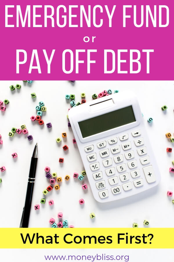 The big debate of emergency fund or pay off debt. Which to choose? Paying off debt is hard, but what about unexpected expenses. Learn how to use an emergency fund and save money when paying off debt. Make progress with your money and financial freedom. #savemoney #emergencyfund #payoffdebt #moneybliss