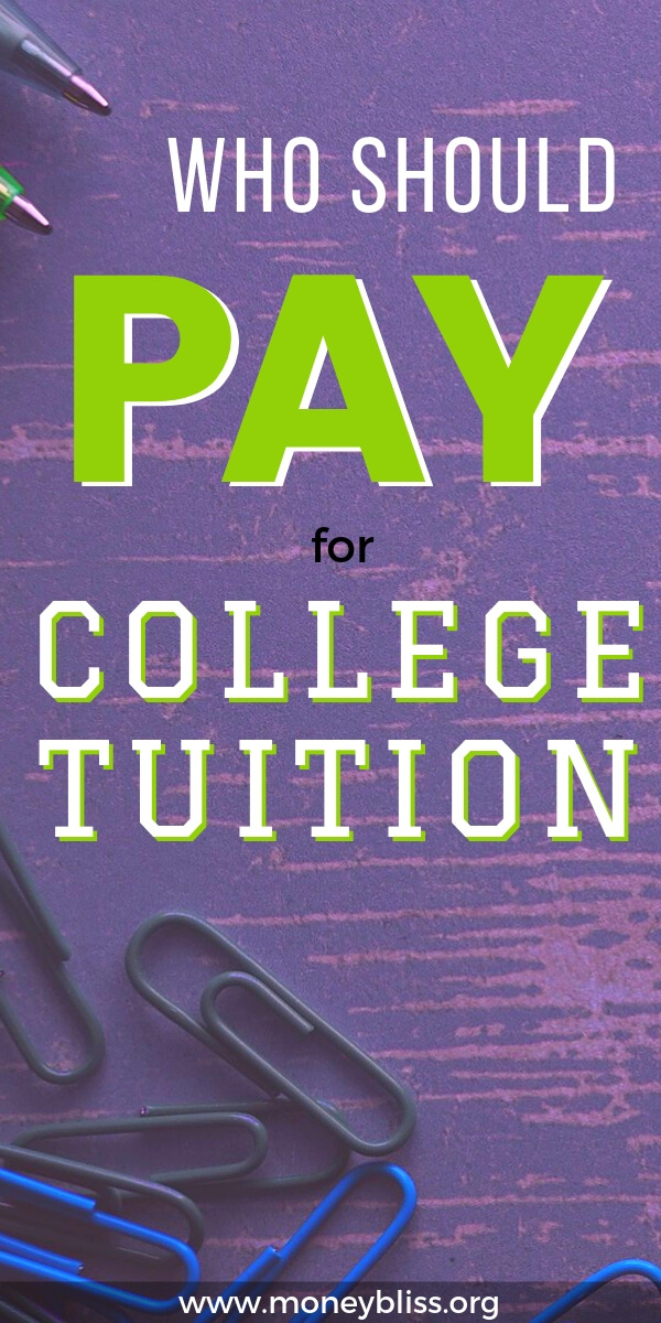 Who should pay for college tuition? Parents? Students? Find college tuition tips and guidance. Plus see how scholarships are becoming popular. Avoid student loan debt if possible.