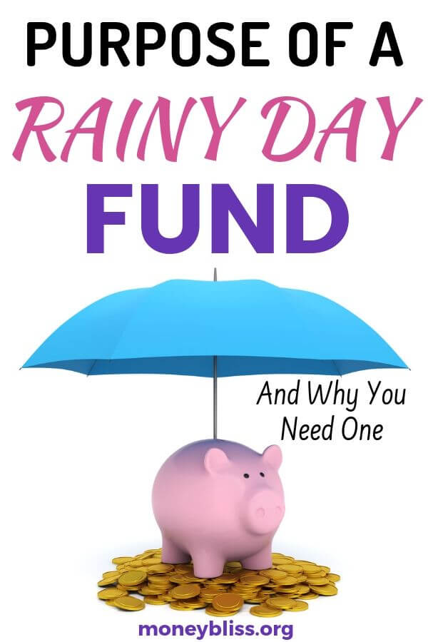Do you know how to build a rainy day fund? It is saving money at its finest to help propel your personal finance situation. A rainy day fund is more than an emergency fund. It is the backbone to financial security for your life. Get tips and ideas in this post. #rainydayfund #savemoney #moneybliss
