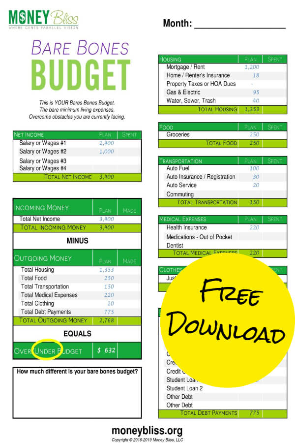 A bare bones budget is just the bare minimum living expenses needed to survive and live. Get your free budget worksheet as a printable. Great money hack plus full of tips to improve your finances.