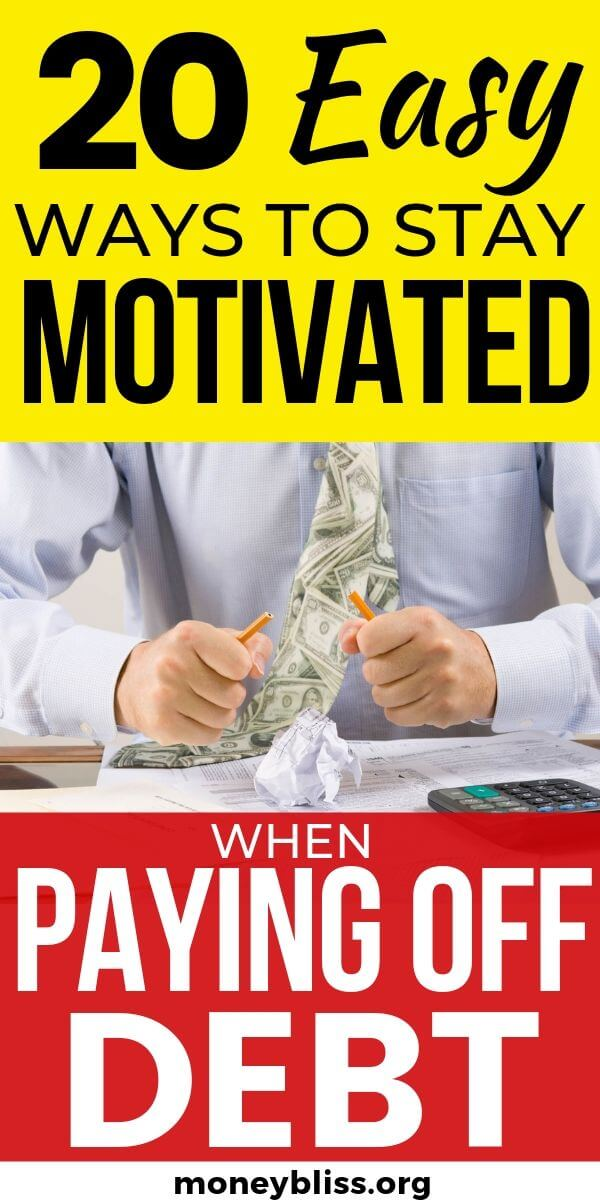 "Find out how to stay motivated when paying off debt. Become debt free with these motivation tips and tricks. Use the tracker and printable to overcome your credit card, student loan, and auto debt. No more drowning in debt."" width="