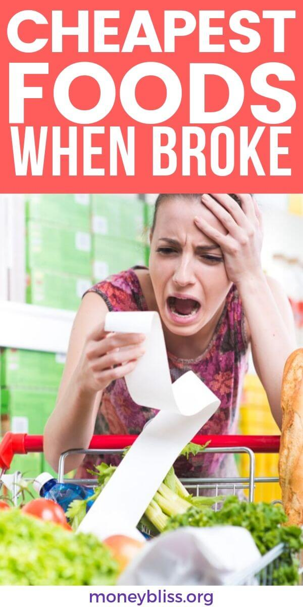 When you are broke and have no money, it is hard to feed your family. Here are cheap foods when you're broke. Stretch your grocery budget further. Eat healthy with these cheap foods on a budget. Grocery list included too!