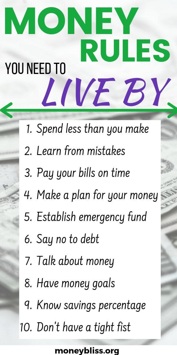 Money Rules you need to live by. Make these part of your personal finances. For beginners and pros. Use these tips to save money, pay off debt, and budget like a pro.