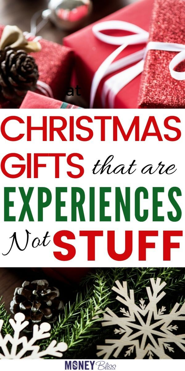 Perfect alternatives to gifts! Give Christmas gifts that are experiences not stuff. These non-toy gift ideas for couples, for families, for kids are meaningful gifts they will treasure for a lifetime. #gifts #experiences #moneybliss