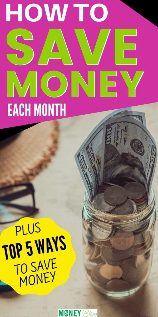 Learn how to save money each month. These are the top 5 saving money tips to make sure you can find success quickly. Pick one of the challenges to improve your budget. | Money Bliss