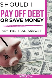Should you pay off debt or save money first? I have been looking for an answer to this questions for a long time. This simple guide helps me to determine when to save money or when to pay off debt. Get answers to should I use my savings to pay off credit card debt. How much to save before paying off debt. You will understand and get the real answer. | Money Bliss